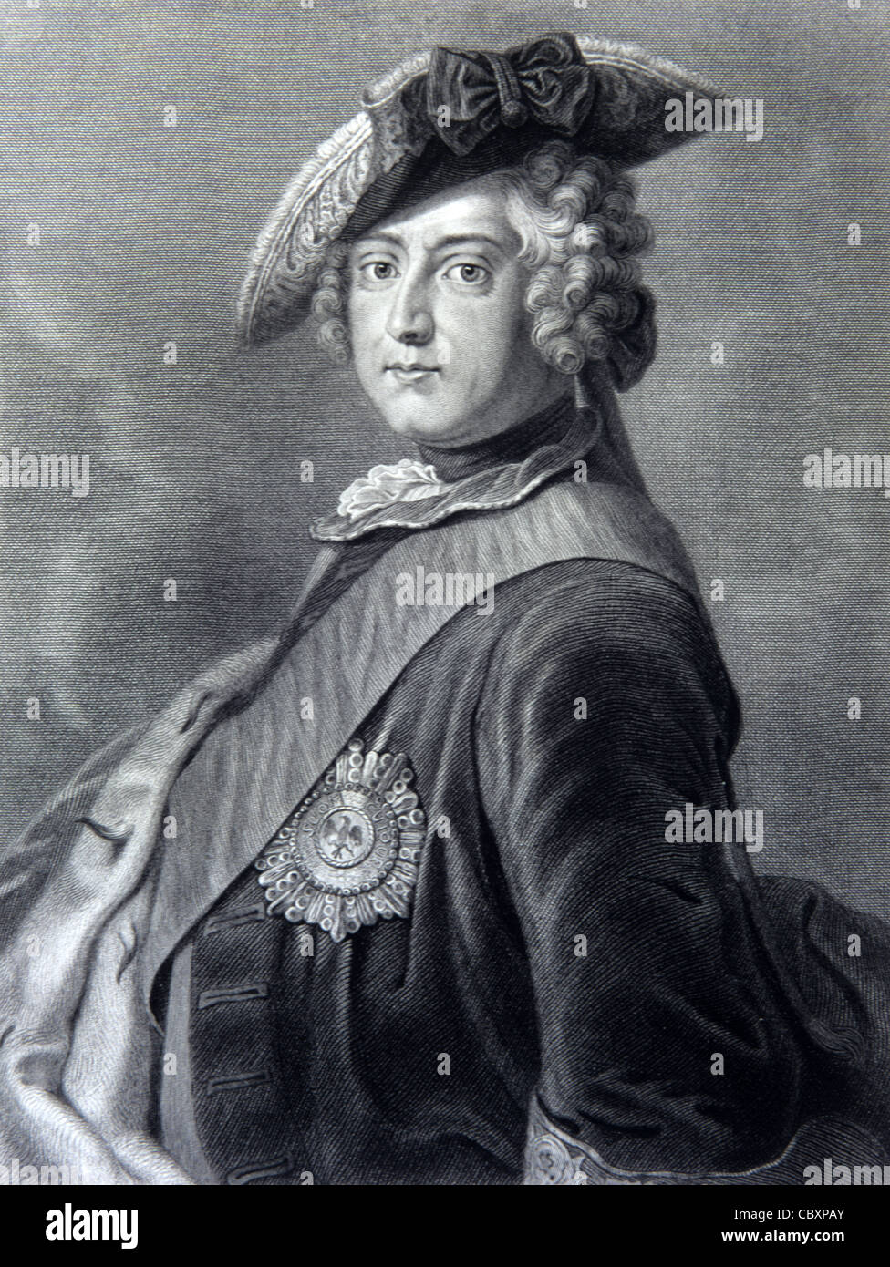 Portrait of Frederick II of Prussia, known as 'Frederick the Great' (1712-86) King of Prussia (1740-86). - Stock Image
