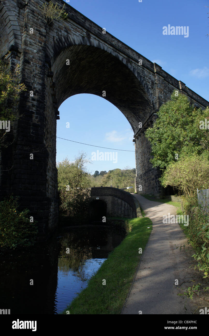 SONY DSC  - Railway bridge overlooking canal and towpath. - Stock Image