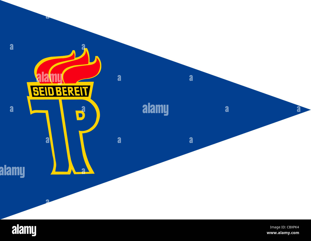 Pennant of national childrens organization 'Pionierorganisation Ernst Thaelmann' of the GDR with the logo - Stock Image