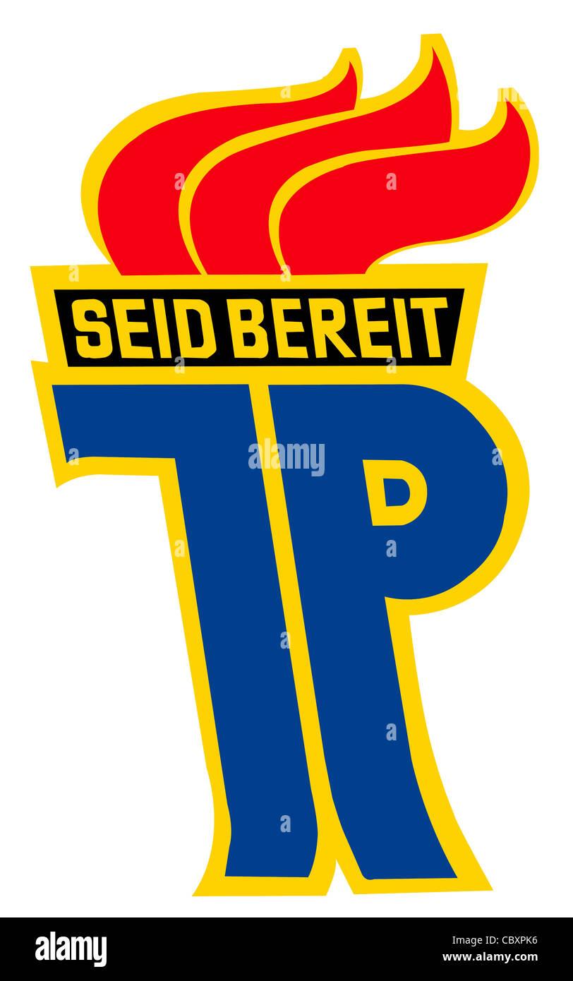 Logo of national childrens organization 'Pionierorganisation Ernst Thaelmann' of the GDR. - Stock Image