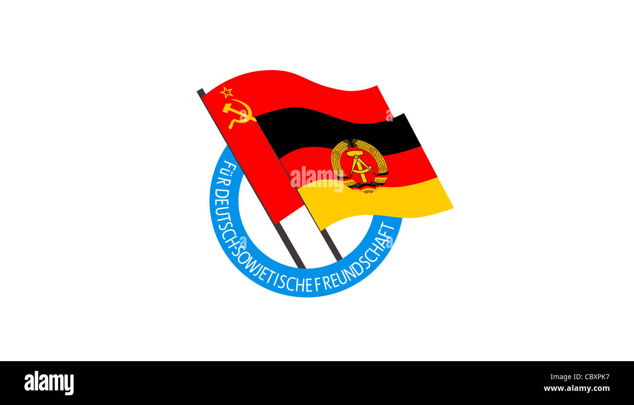 Flag of the Society for German Soviet Friendship DSF of the GDR with the logo of the organization. - Stock Image
