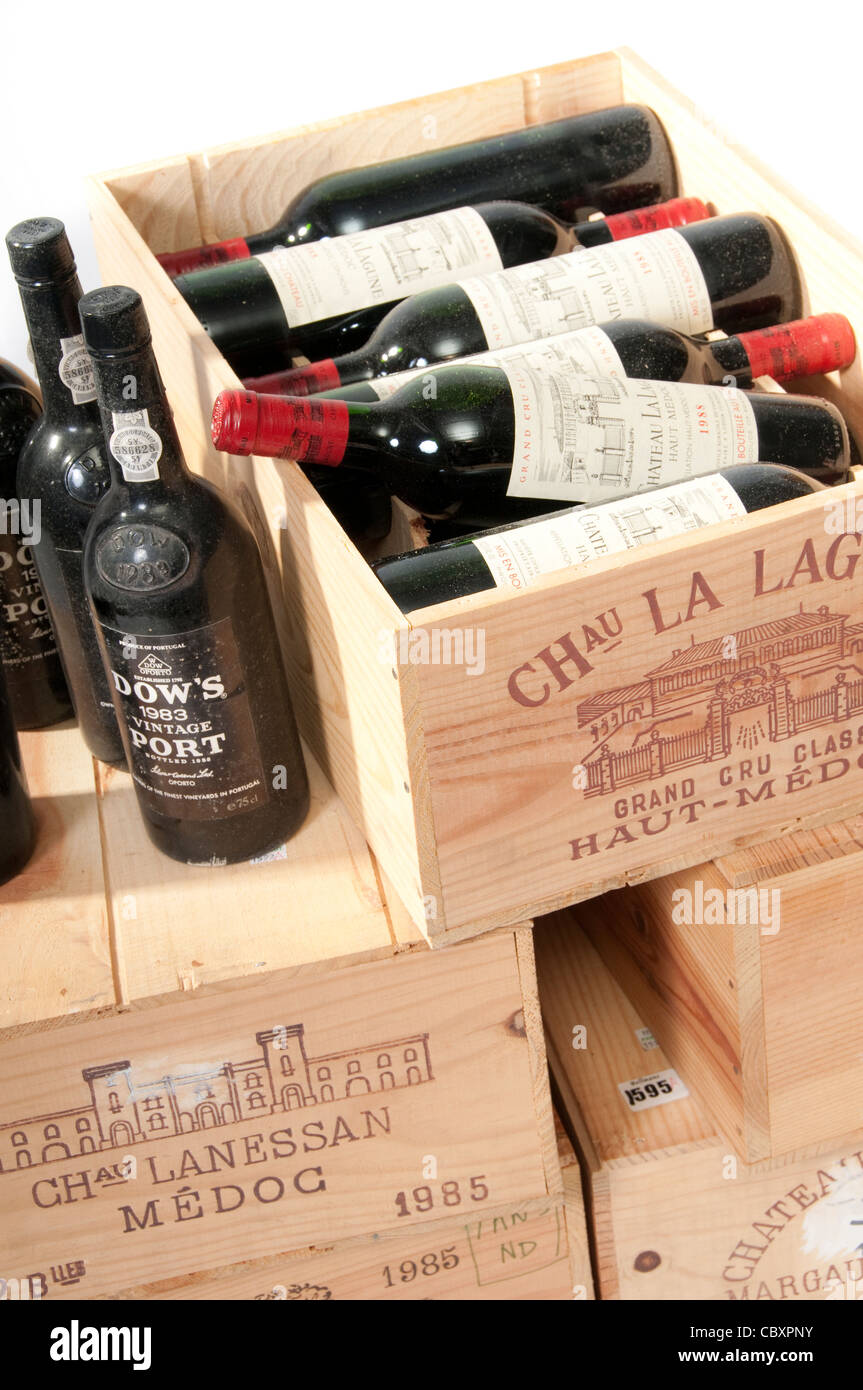 Boxes of Old Wine & Port Stock Photo
