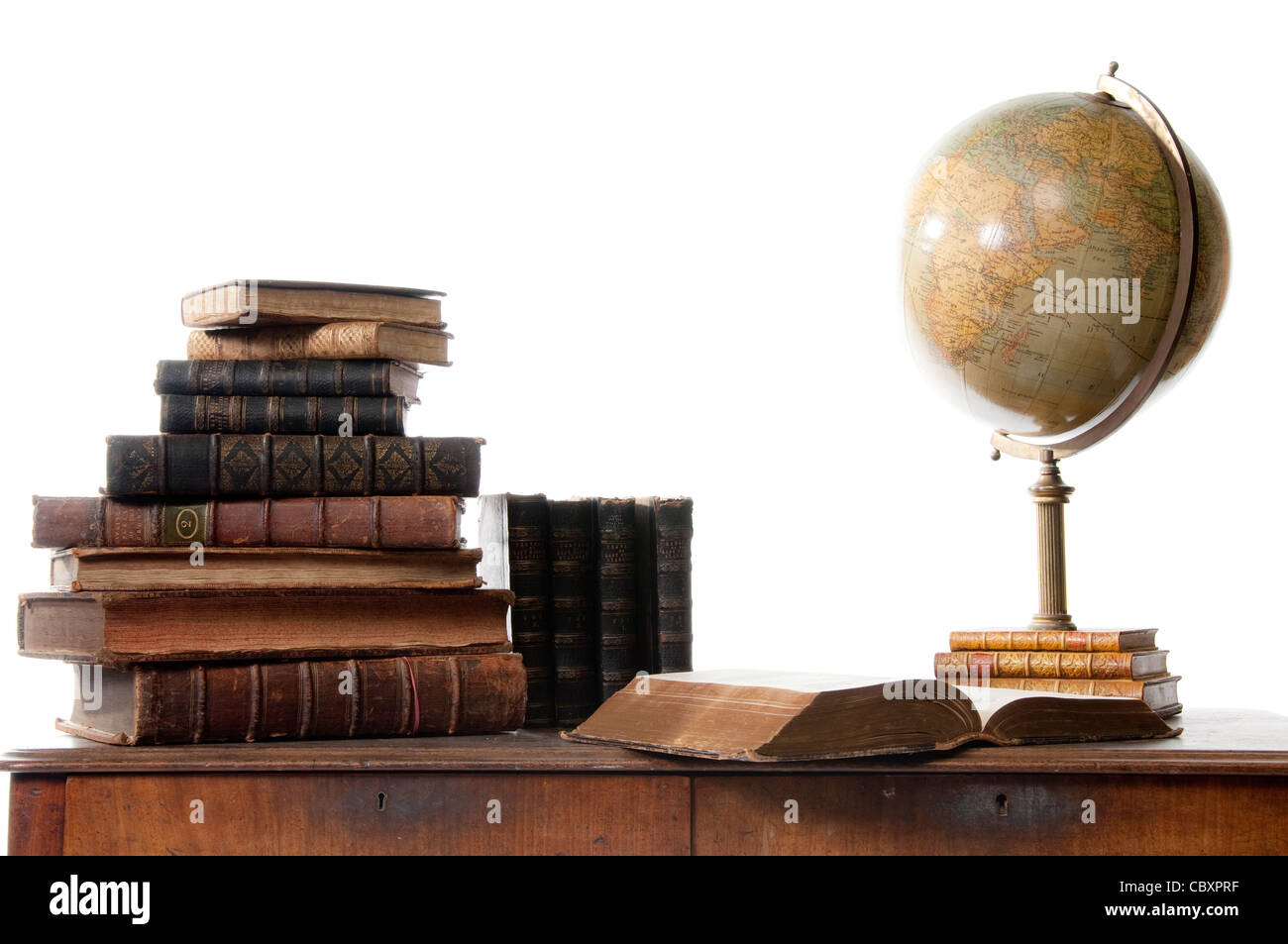 Old Books and Globe Stock Photo