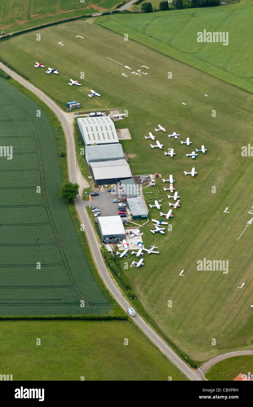 Aerial view, Netherthorpe airfield, South Yorkshire - Stock Image