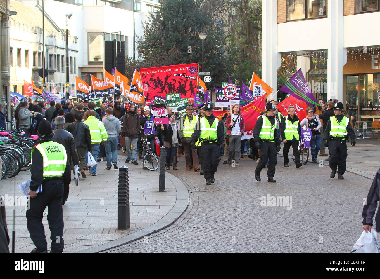Public sector protest and demonstration in Cambridge on 30th November 2011 - Stock Image