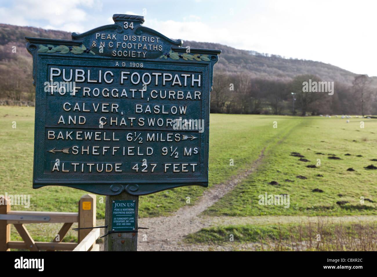 Old Public Footpath sign, Froggatt, Derbyshire - Stock Image