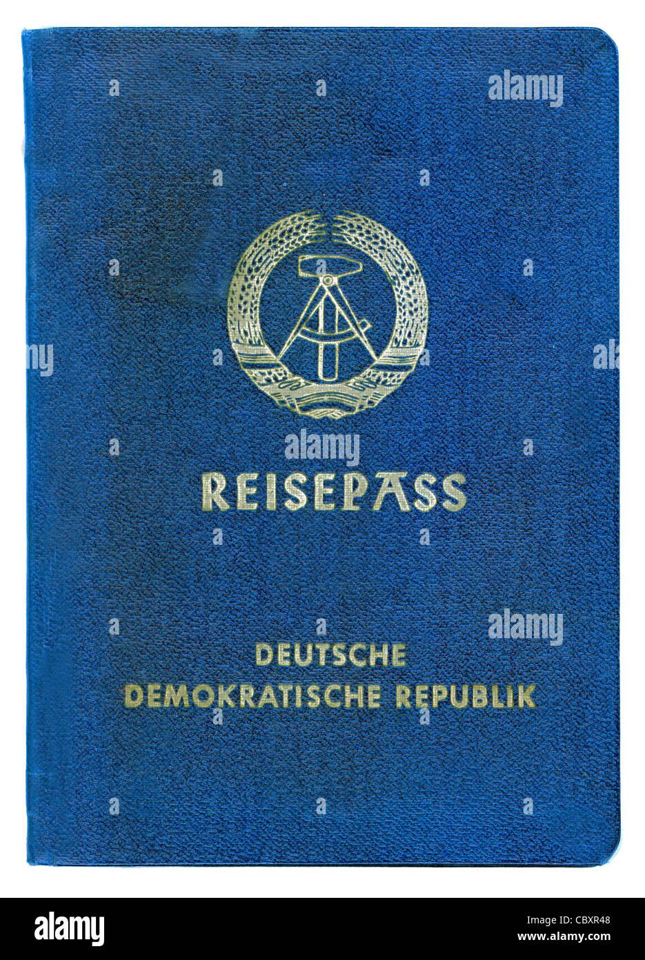 Passport of the German Democratic Republic GDR. - Stock Image