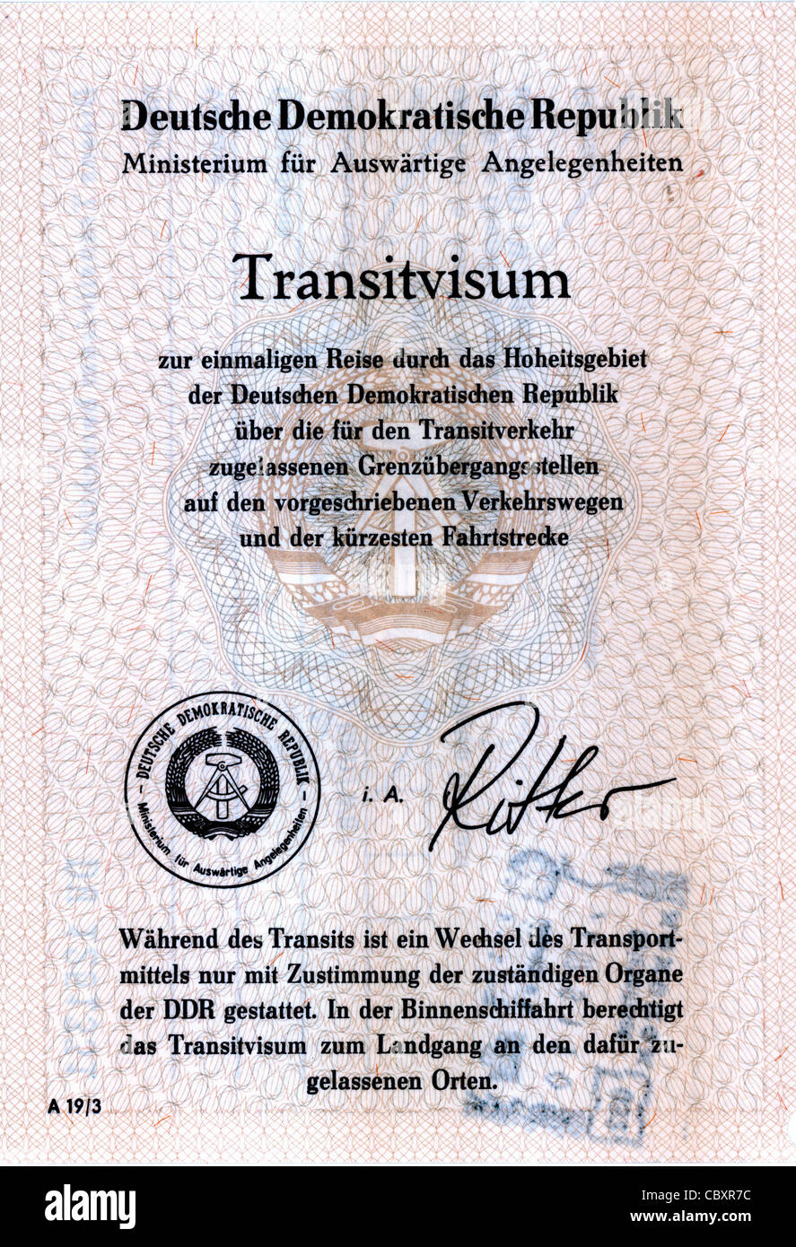 Transit visa of the German Democratic Republic for a journey on the transit ways through the GDR. - Stock Image
