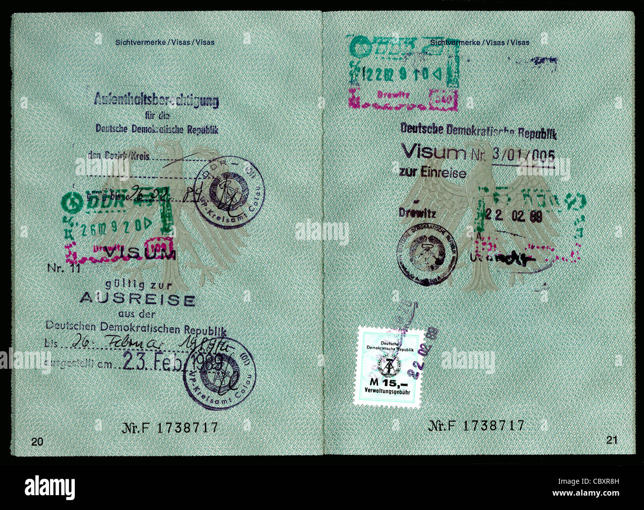 Passport of the Federal Republic of Germany with the remark of a right of residence in the GDR and the visas of - Stock Image