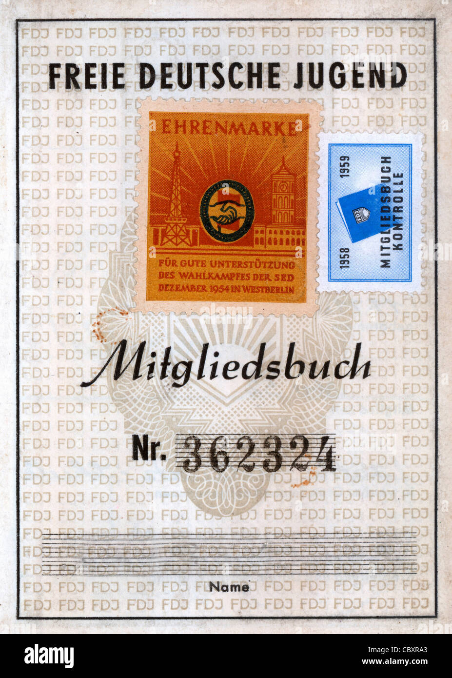 Member book of the GDR youth organization Free German Youth FDJ. Stock Photo