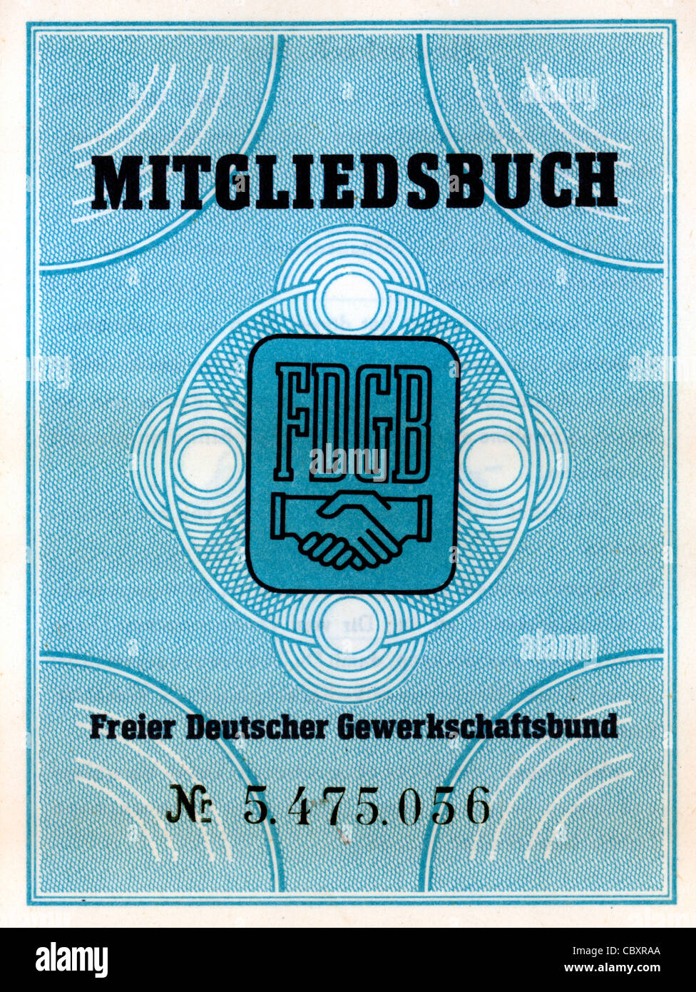 "Member book of the trade union association ""Free German Trade Union Federation"" FDGB of the GDR. Stock Photo"