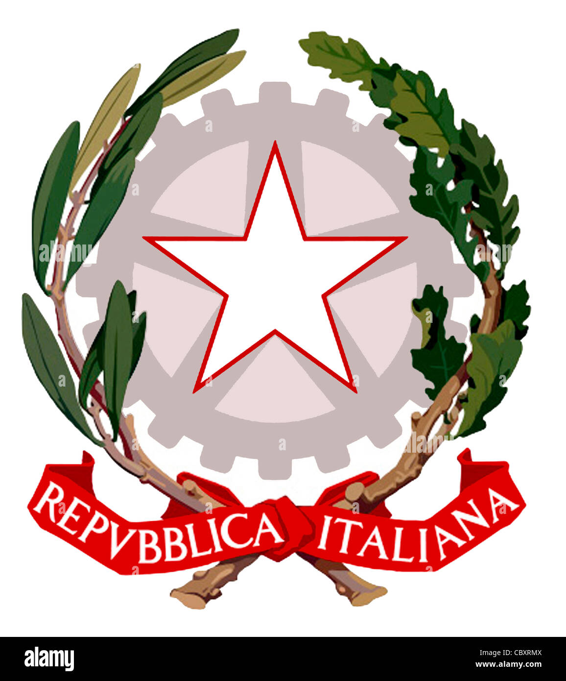 Coat of arms of the Republic of Italy. - Stock Image