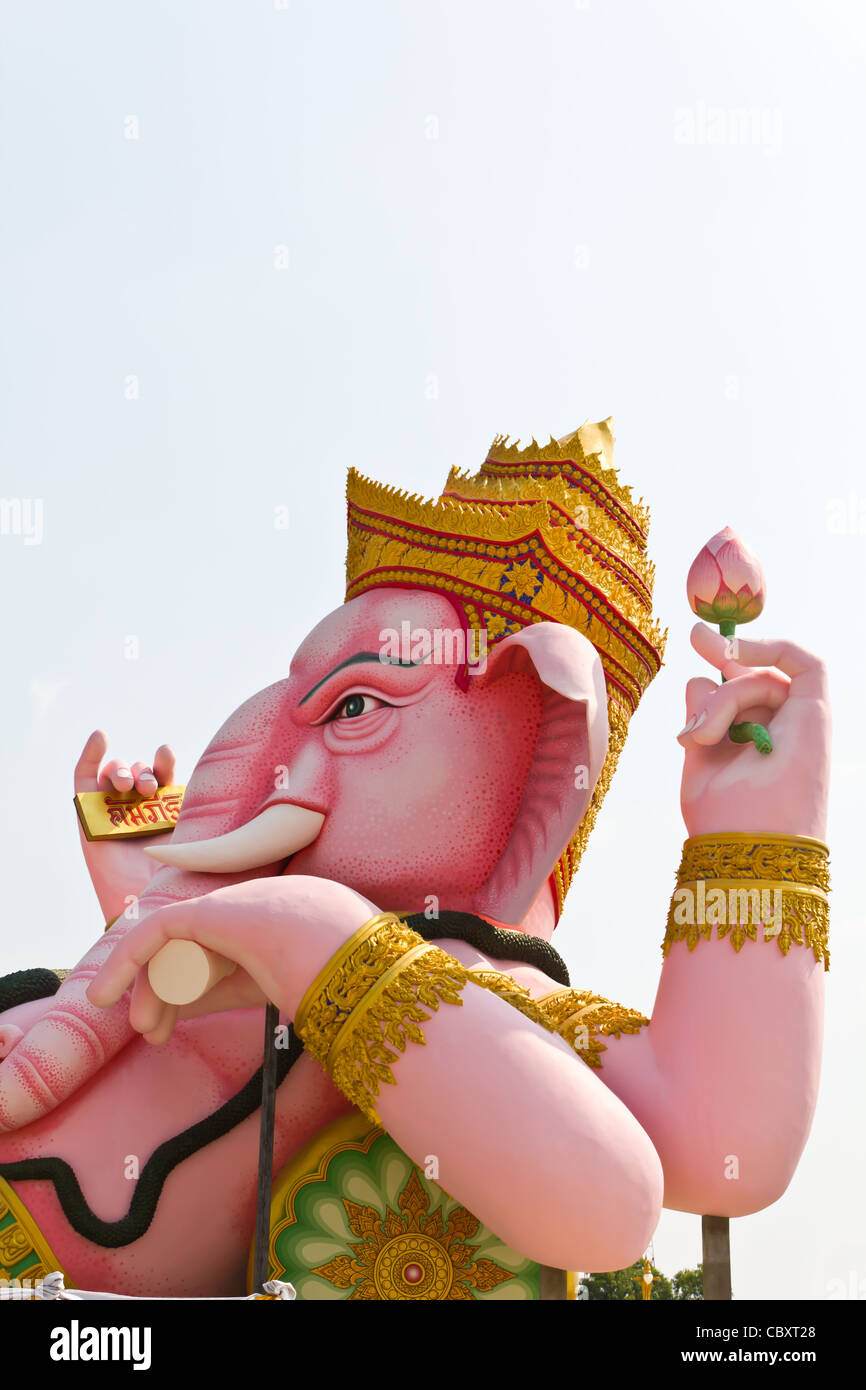 The God of wisdom and difficulty Ganesha statue at Nakhonnayok province, Thailand - Stock Image