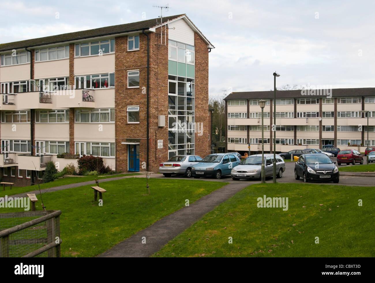 UK Residential council Housing Estate Estates With Blocks Of Maisonettes Flats - Stock Image