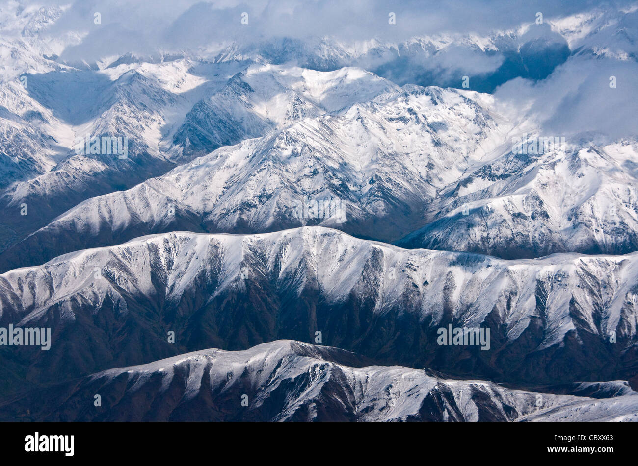 Snow-capped Southern Alps on South Island of New Zealand - Stock Image