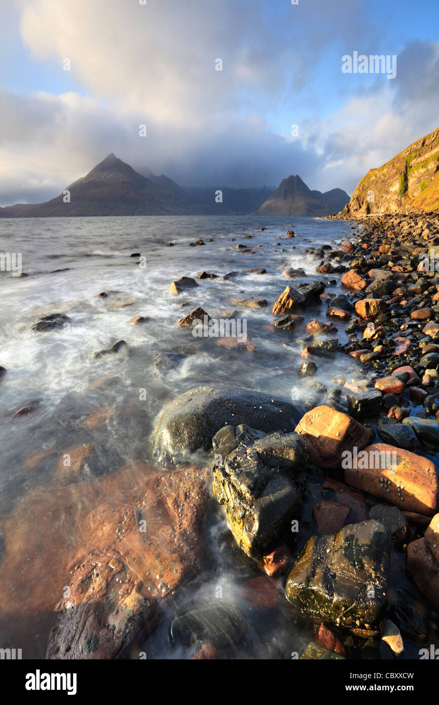 The Black Cuillin Hills on the Isle of Skye captured from rocks near Elgol on the Isle of Skye - Stock Image