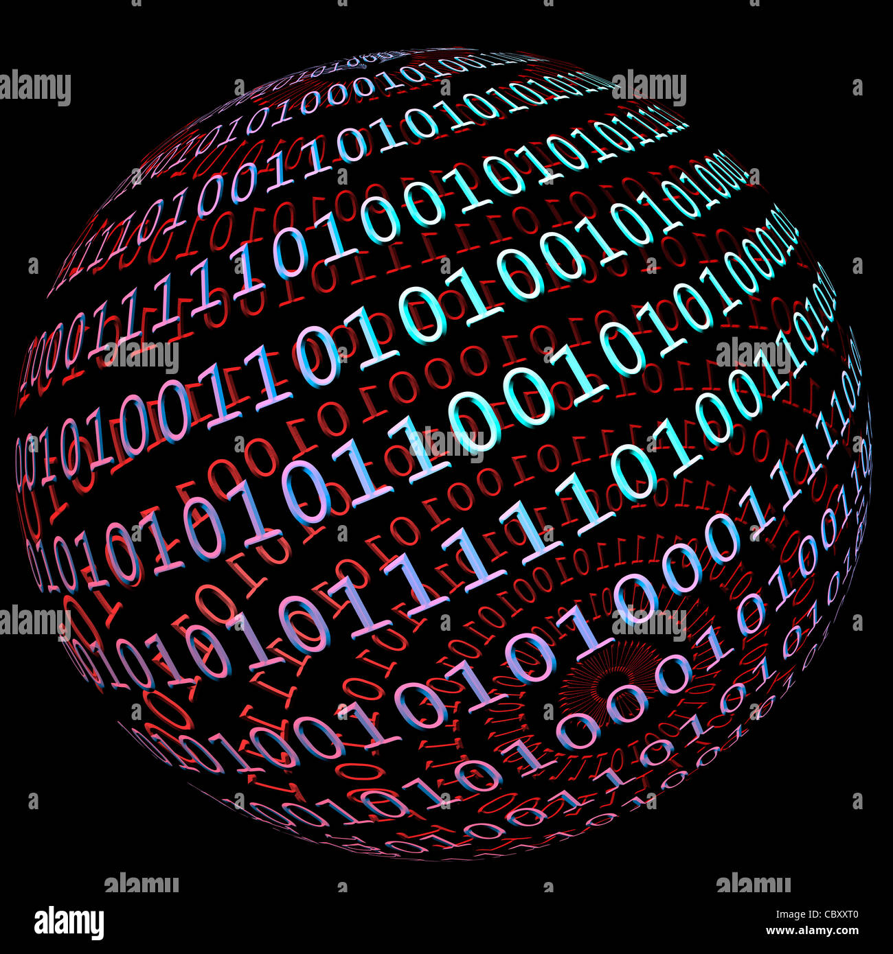Binary data globe - Stock Image