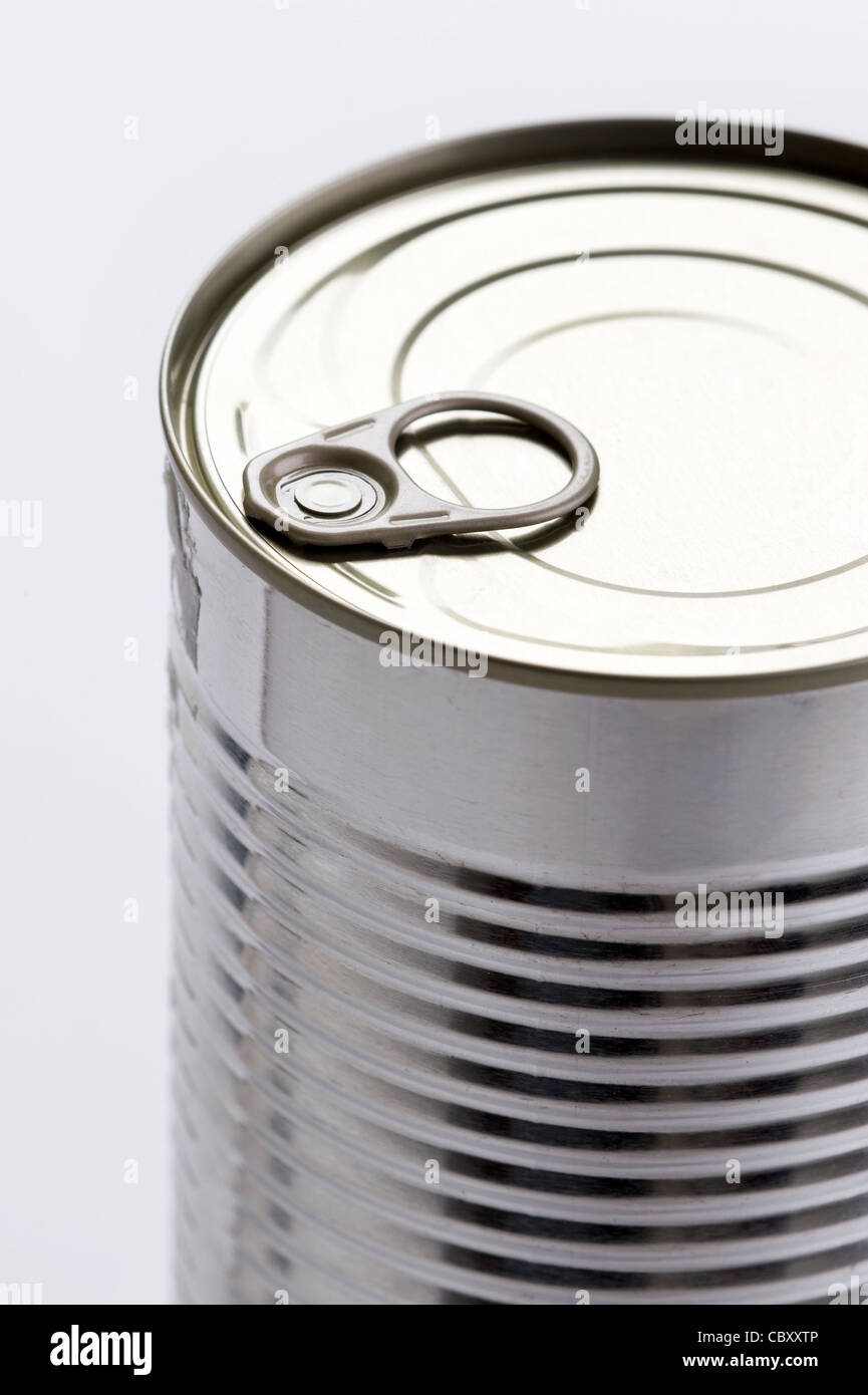 a metal food tin can with a ring pull top - Stock Image