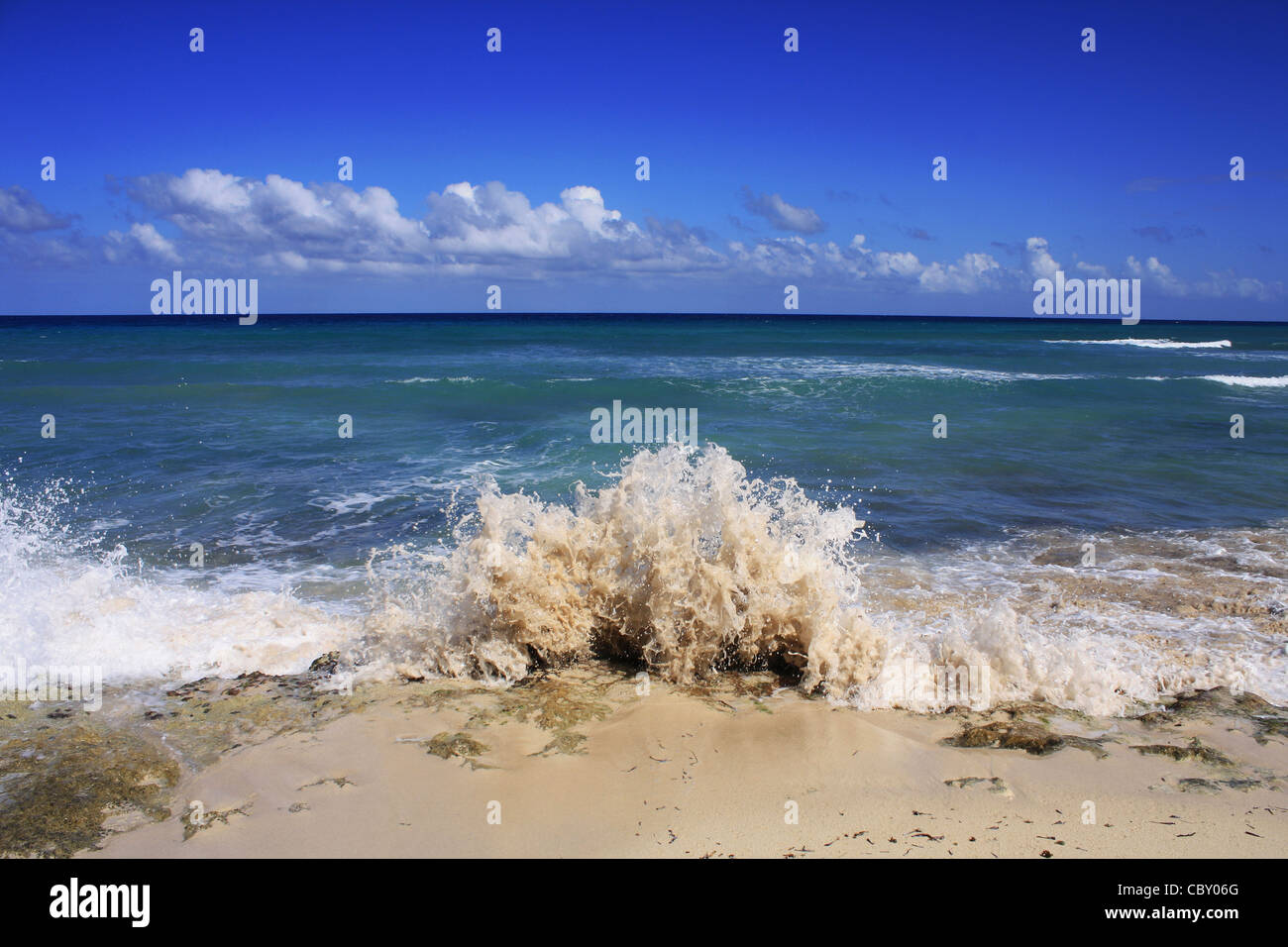 The crashing waves on Montego Bay, Jamaica - Stock Image