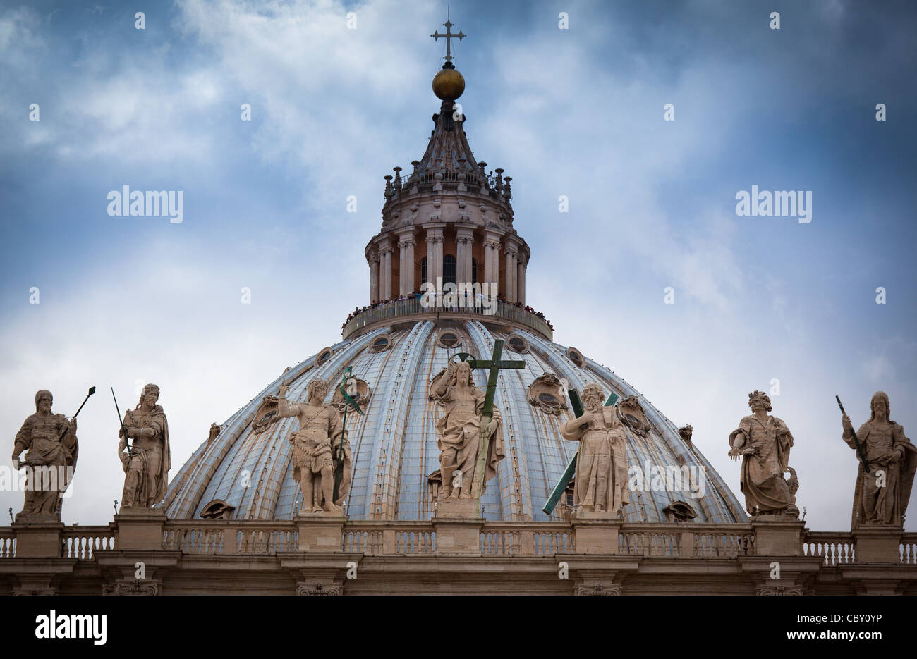 Roof of St. Peter's Basilica in the Vatican, Rome, Italy - Stock Image