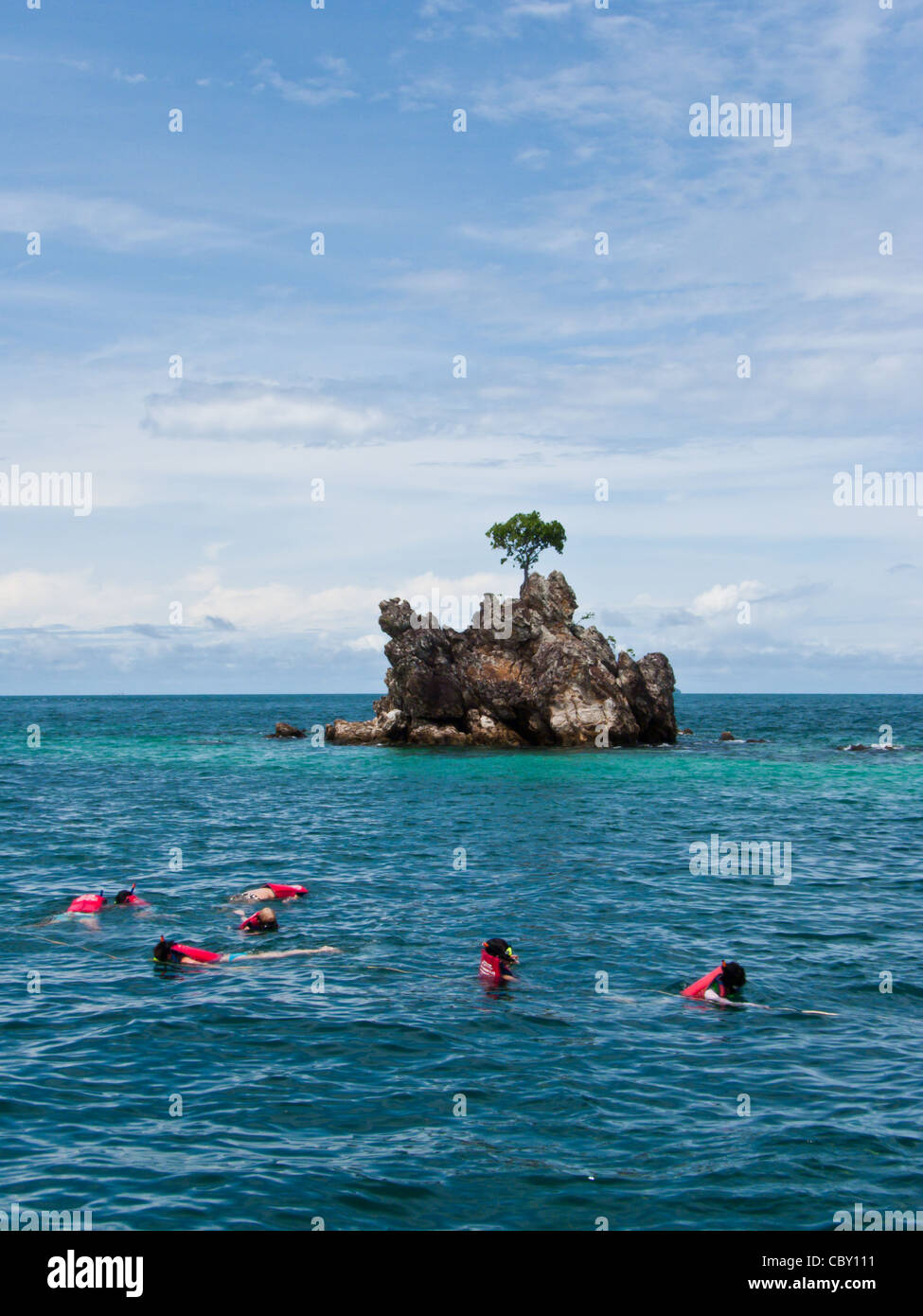 Snorkeling seen Coral and Fish in Phuket Souht of Thailand - Stock Image