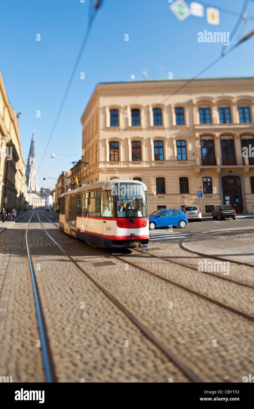 Street tram, Olomouc, Czech Republic - Stock Image