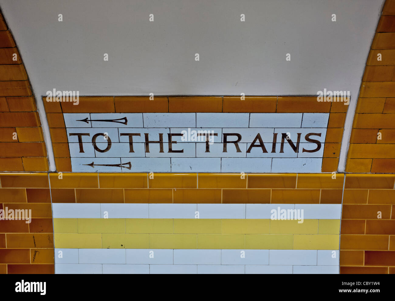 To the Trains sign on london underground - Stock Image
