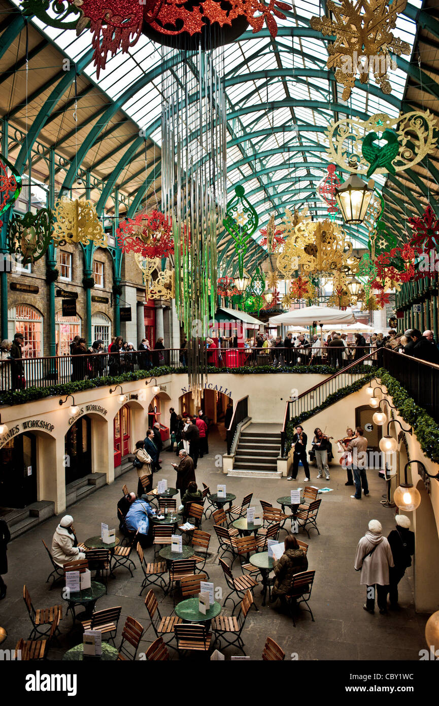 covent Garden indoor market with christmas decorations - Stock Image