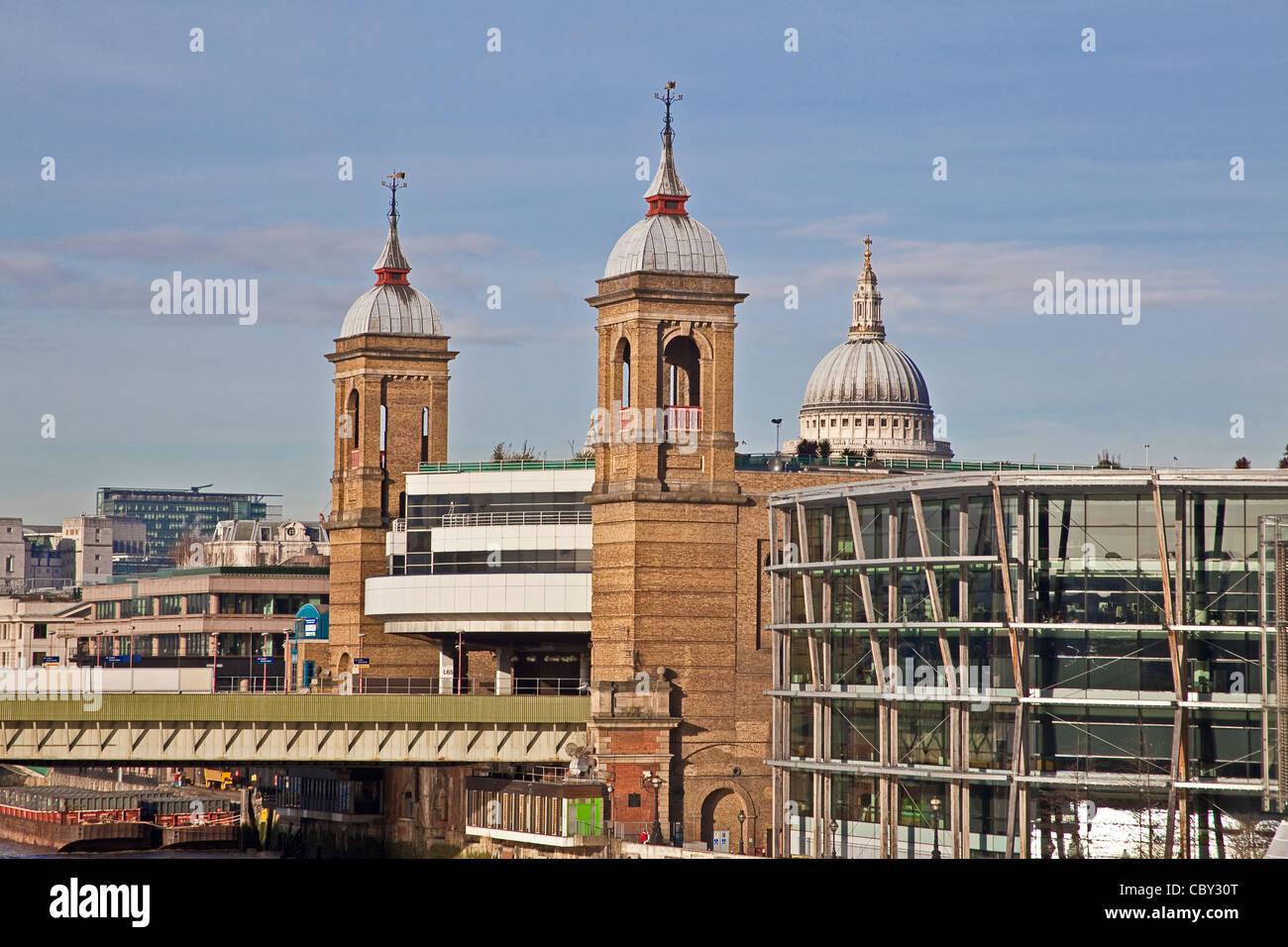 The approach to Cannon Street station seen from London Bridge December 2011 - Stock Image