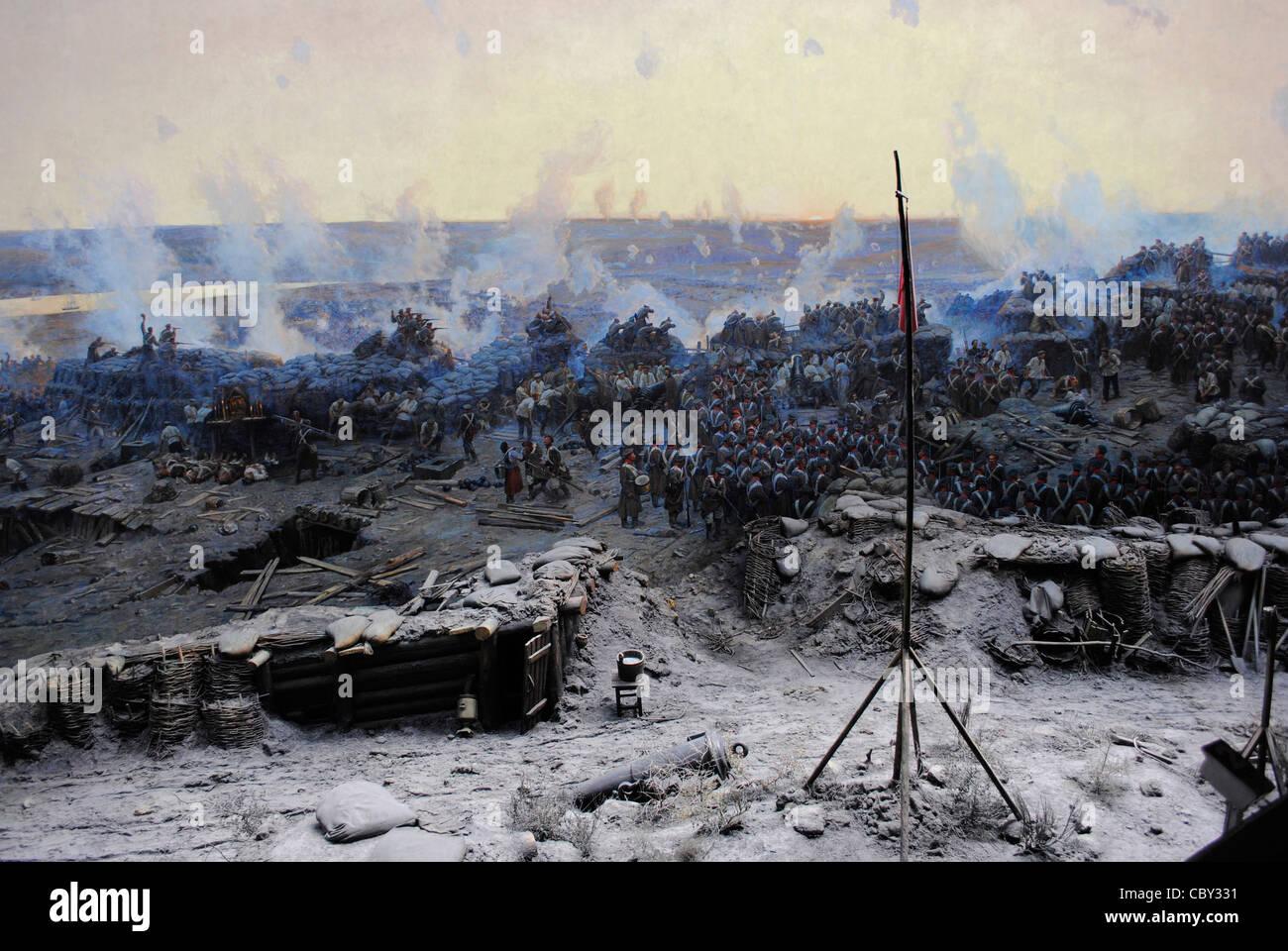 Crimean War (1853-1856). Siege of Sevastopol, 1854-1855, by Franz Alekseyevich Roubaud (1856-1928). Crimean Peninsula. - Stock Image