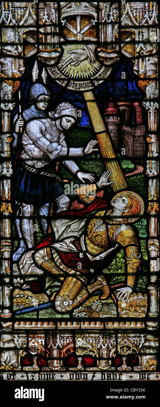A stained glass window depicting St Paul's Conversion on the Road to Damascus, St Peter & St Paul Church, - Stock Image