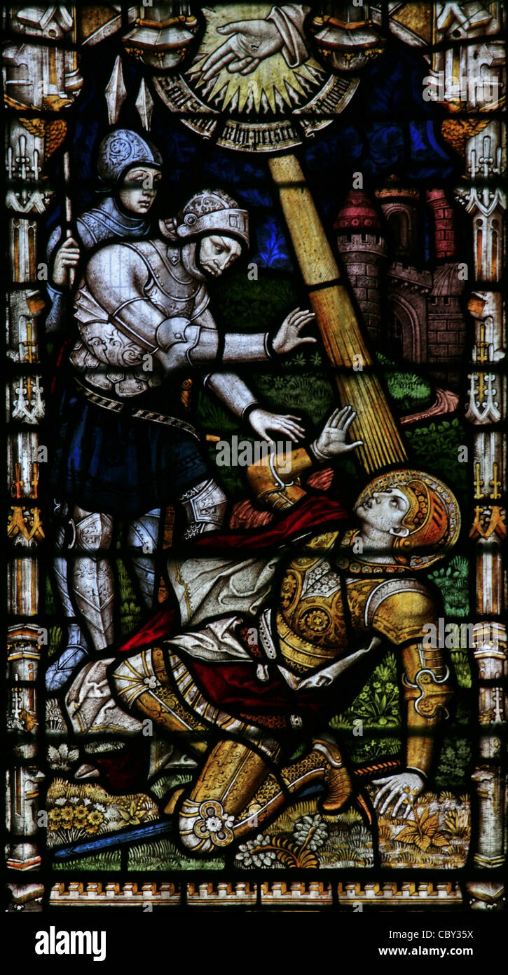 A stained glass window depicting St Paul's Conversion, St Peter & St Paul Church, Charing, Kent - Stock Image