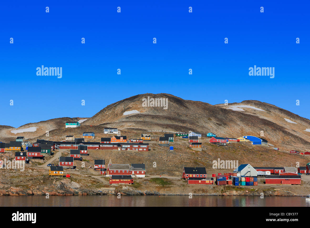 Village of Ittoqqortoormiit, Scoresbysund, east coast Greenland - Stock Image