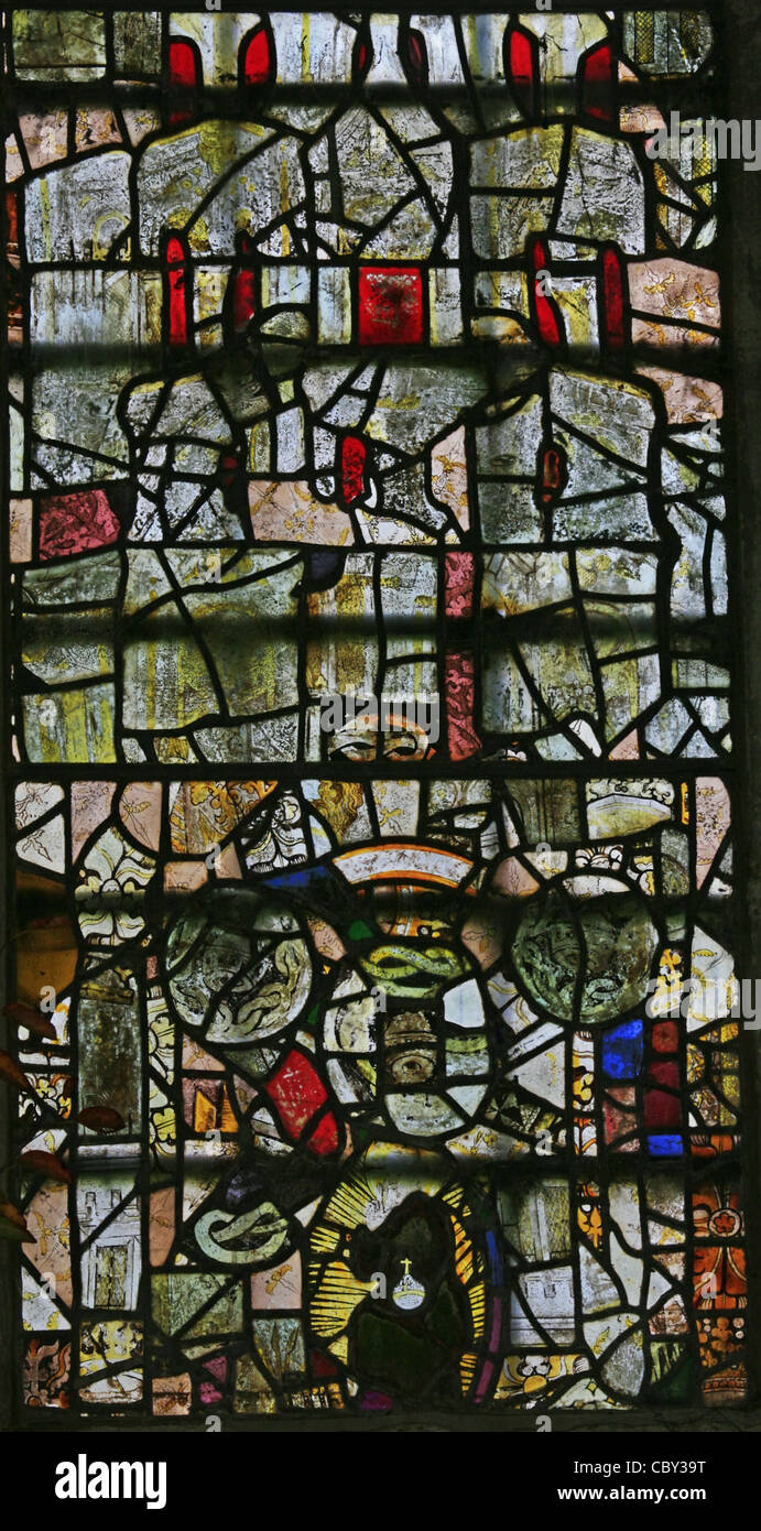 A jumble of re-inserted 15th century stained glass, St Mary the Virgin Church, Nettlestead, Kent - Stock Image