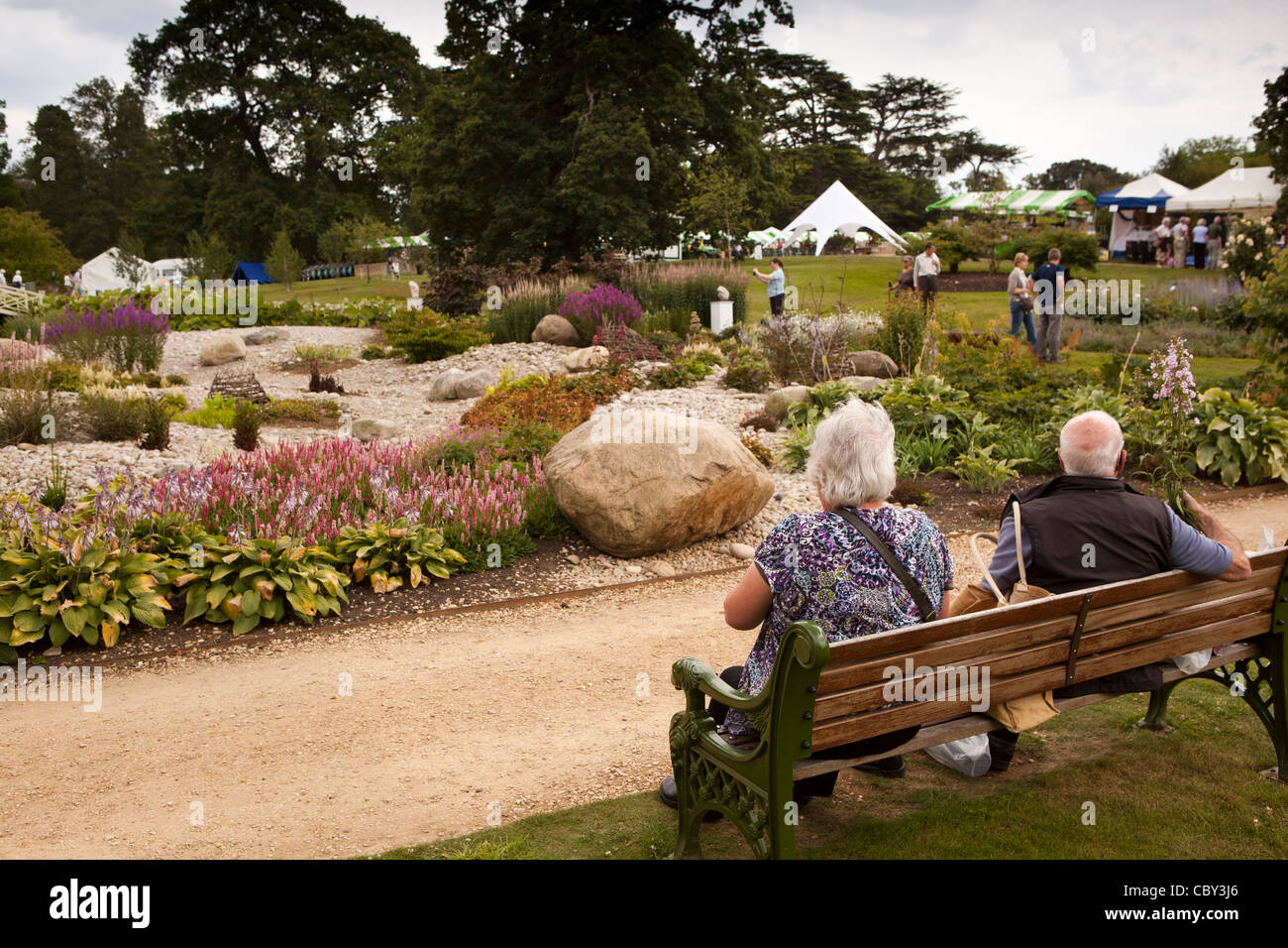 UK, England, Bedfordshire, Woburn Abbey Garden Show, mature couple ...