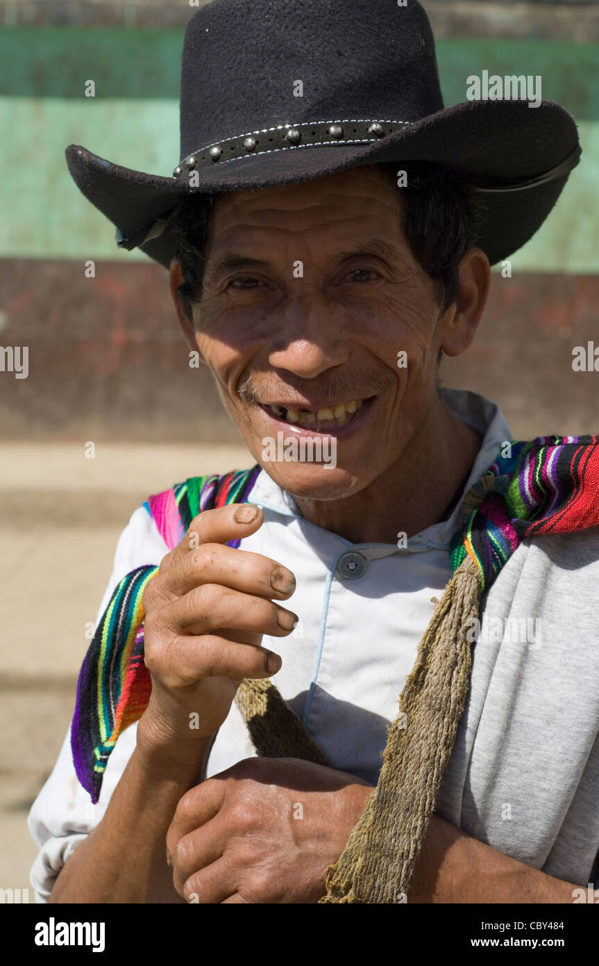 An indigenous Central American Mayan Indian man wearing the cowboy style hat popular among men in country areas - Stock Image