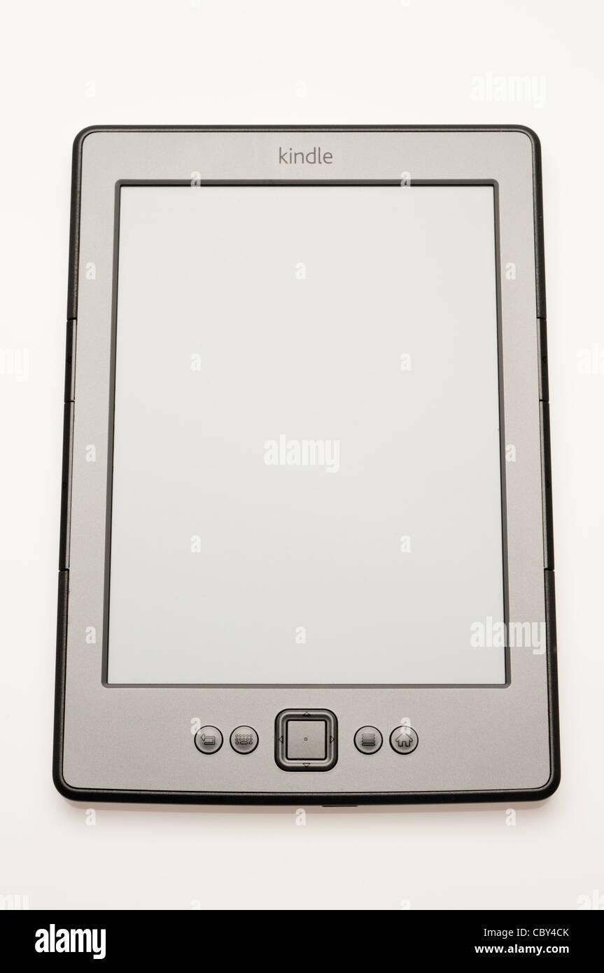 Amazon Kindle ebook reader on a white background - Stock Image