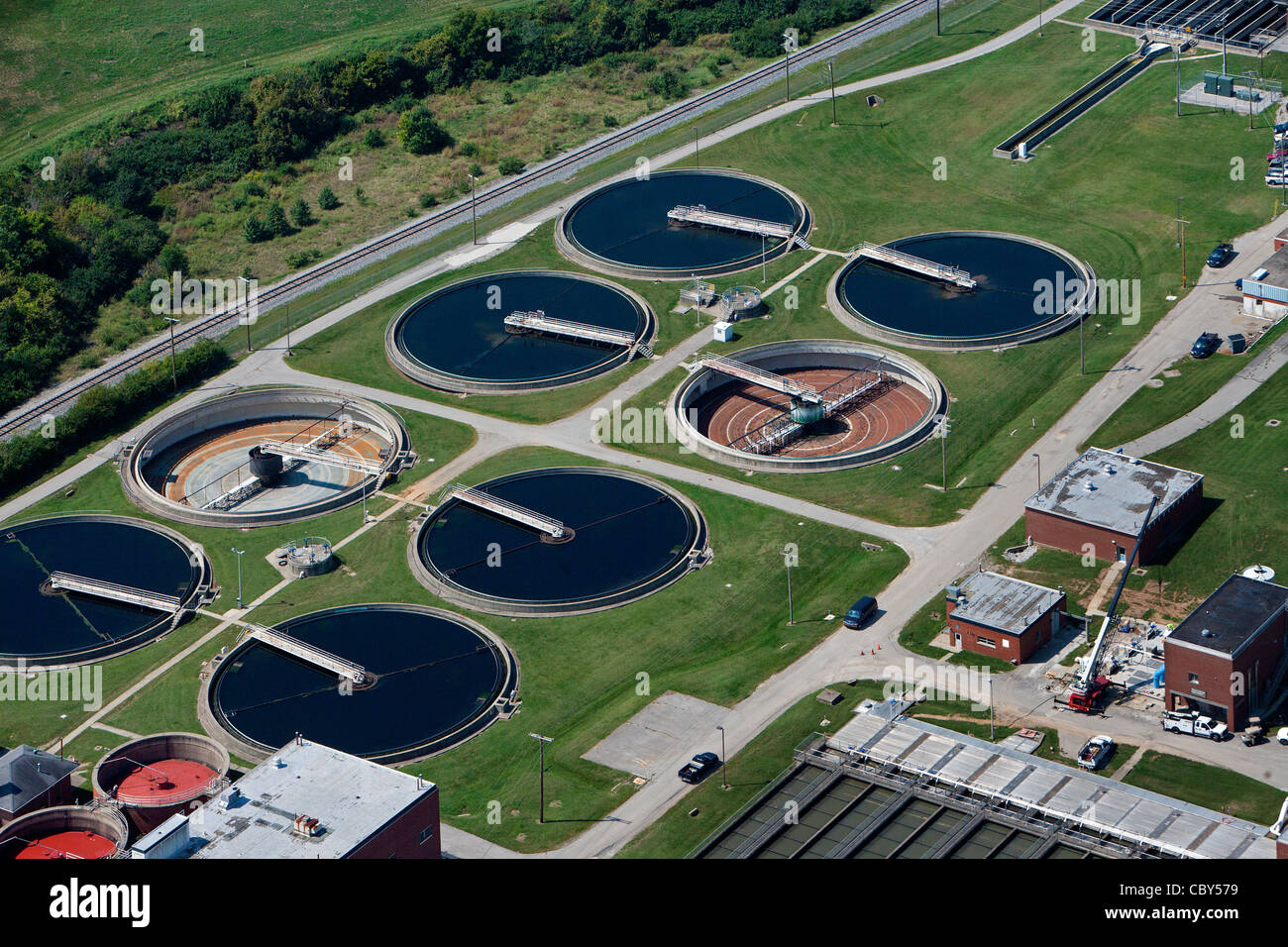 aerial photograph downtown waste water treatment plant, Lexington, Kentucky - Stock Image