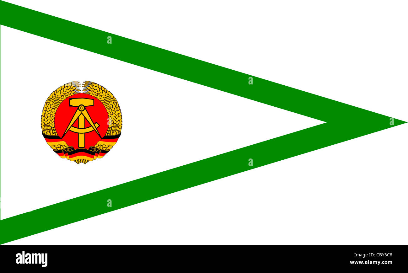 Flag of the Custom Administration with coats of arms of the GDR. - Stock Image
