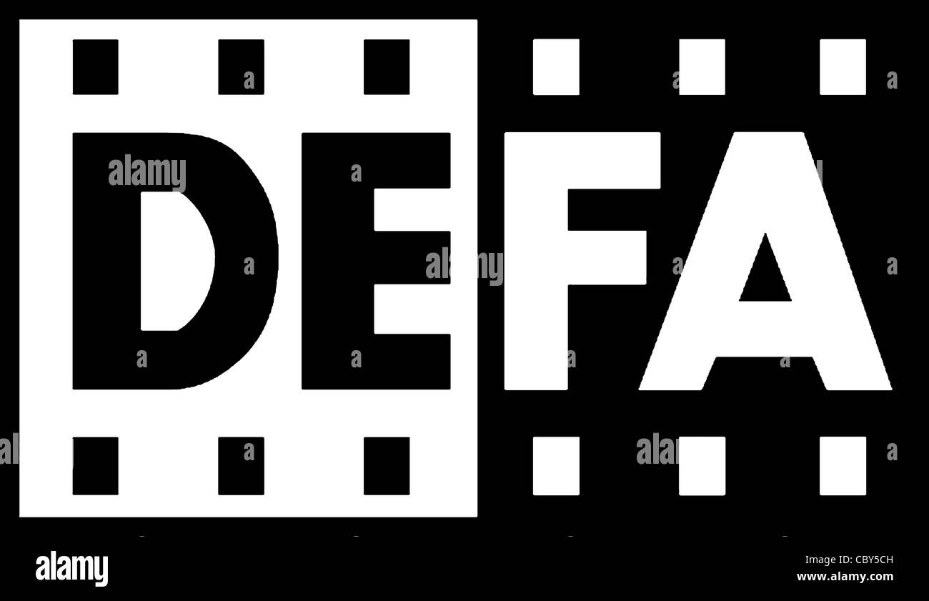 Logo of the state GDR film company DEFA with seat in Potsdam. - Stock Image