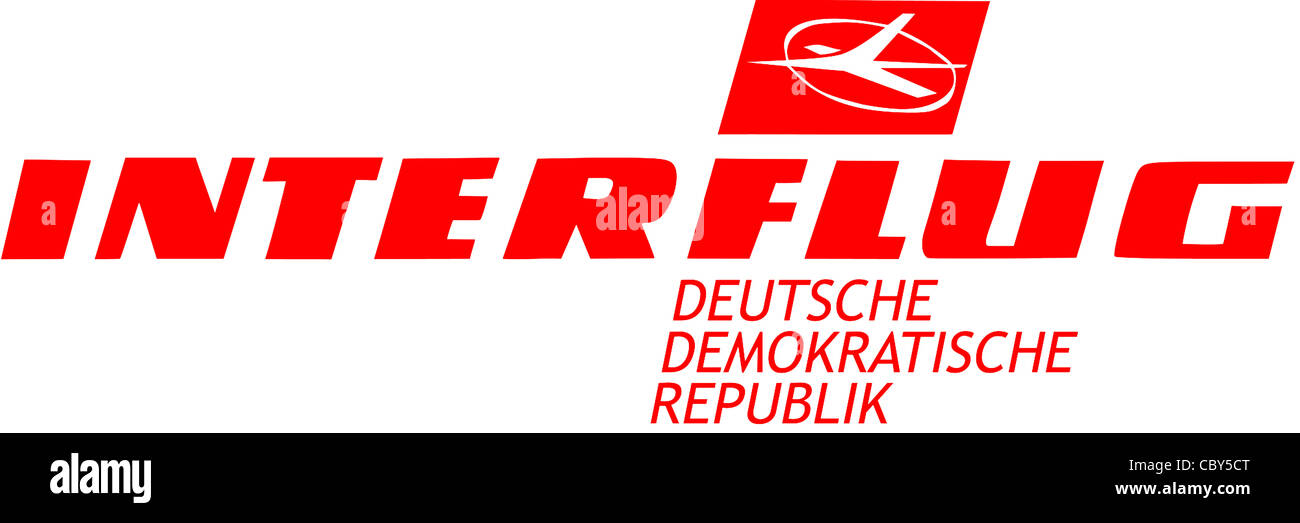 Logo of the state airline company Interflug of the DDR. - Stock Image