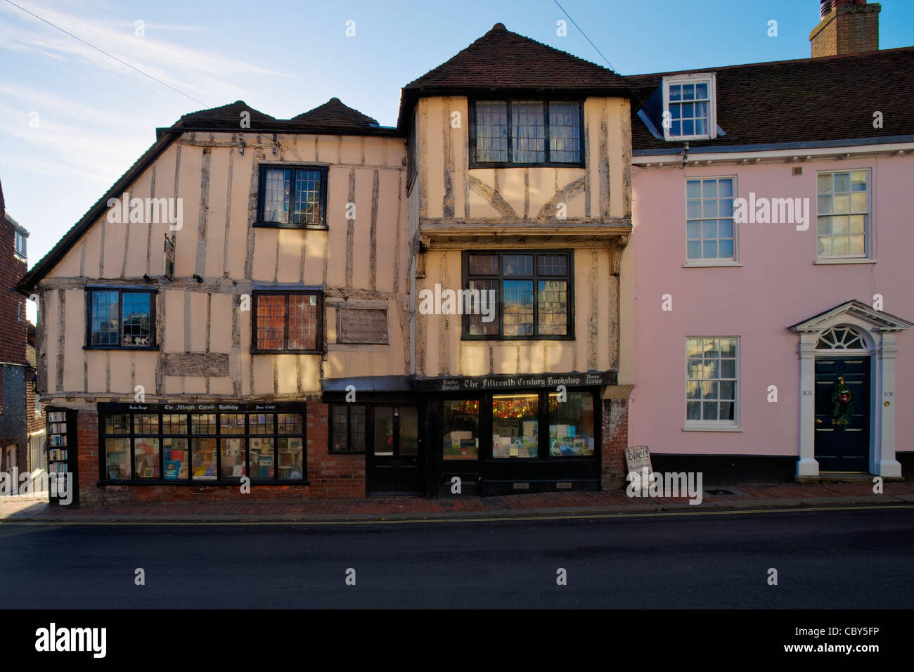 The Fifteenth Century Bookshop, High Street, Lewes, Sussex, England, - Stock Image