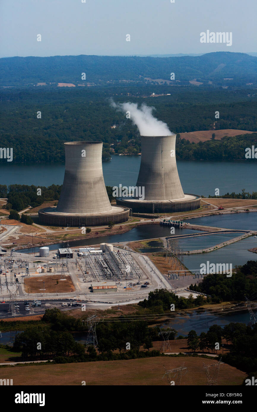 aerial photograph of Sequoyah Nuclear Power Plant Tennessee Valley Authority Chattanooga - Stock Image