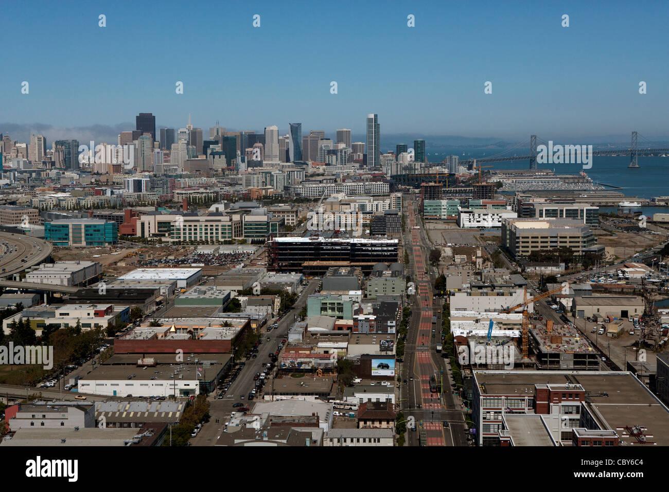 Aerial photograph Third Street corridor, Mission Bay San Francisco California - Stock Image