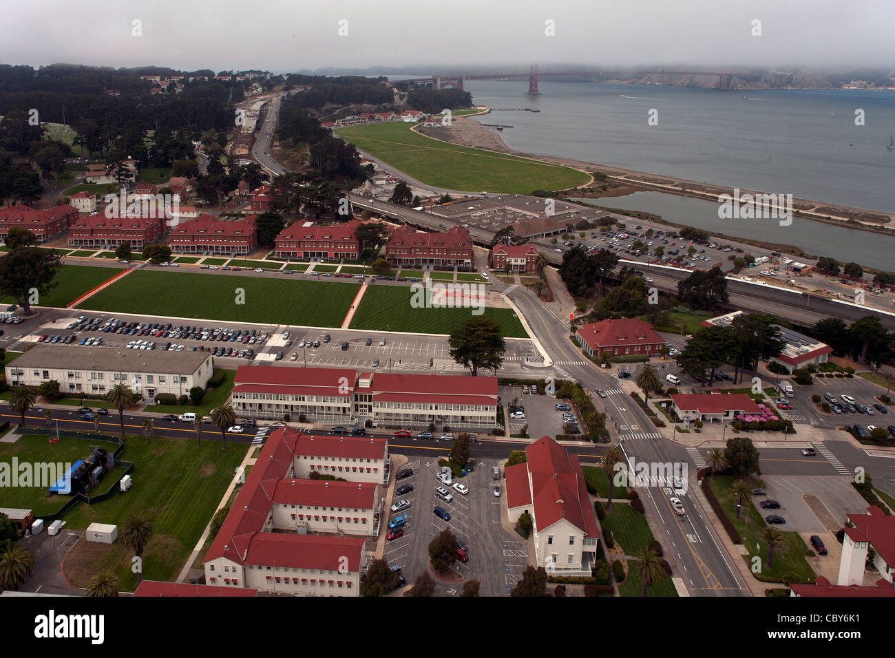 aerial photograph Presidio of San Francisco - Stock Image