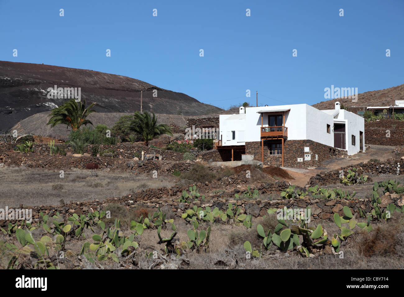 Rural house on Canary Island Lanzarote, Spain - Stock Image