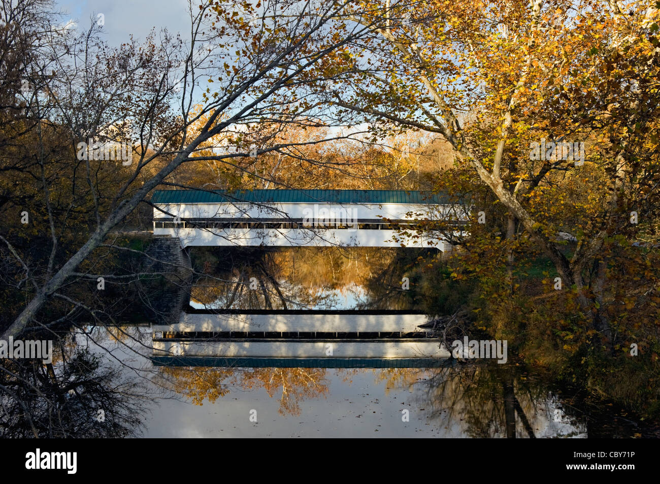 Westport Covered Bridge on Sand Creek in Decatur County, Indiana - Stock Image