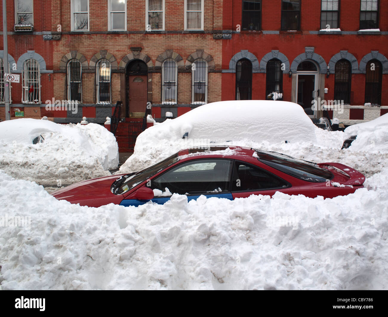 Cars buried in snow after winter storm, Brooklyn, New York Stock Photo: 41780374 - Alamy