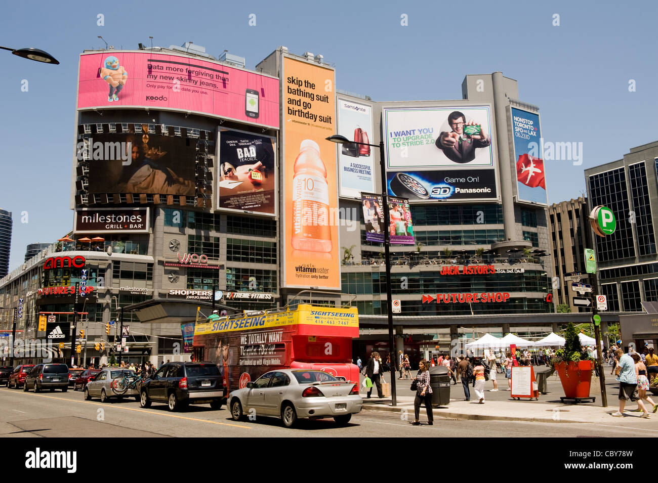 Yonge-Dundas Square in Toronto May 6, 2011. A public square modeled after Times Square attracts thousands of tourists - Stock Image