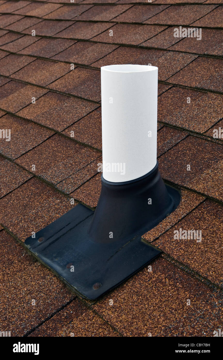 Sewer Roof Vent on Asphalt Shingled Roof - Stock Image